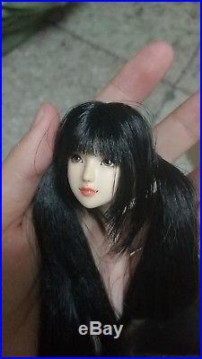 1/6 Scale OB Custom Long Black Hair Asia Girl Head For 12 Female Figure Body