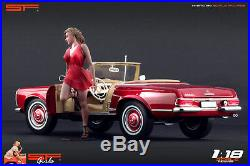 118 Girl in a hurry red dress figure VERY RARE! NO CARS! For diecast cars