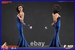 118 Long blue dress girl figurine VERY RARE! NO CARS! For diecast by SF