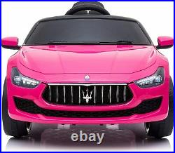 12V Kids Ride On Car Maserati Ghibli Electric Toy Girls Birthday Gift Pink with RC