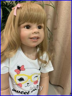 39 Standing Reborn Toddler Dolls Girls Full Body Vinyl Real Life Baby Dolls Toy