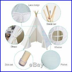 6 ft White Teepee Tent for Kids Children Kids Play Tent Boys Girl Playhouse Tipi