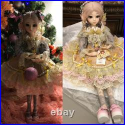 60cm BJD Doll 1/3 Ball Jointed Girl Face Eyes Makeup Dress Wigs Shoes Gifts Toy