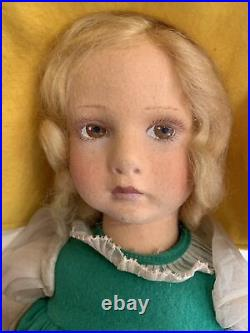 Antique Lenci Girl Doll 17 Paper Tag Original Wooden Toy