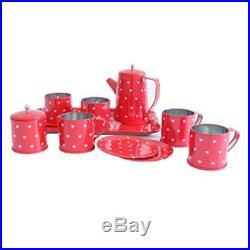 Bissport Tin Tea Set Toy-Tea Kitchen Playset For Kids Girls Boys Pretend PlayRe