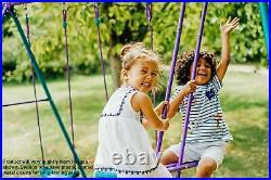 Boys Girls Kid Metal Swing Set Playground Glide Outdoor Backyard Fun Heavy Duty