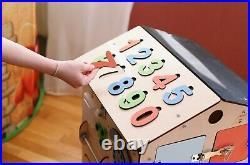 Busy board house for kids, girl & boy. Educational wooden busy cube. Montrssori toy