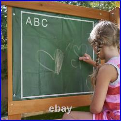 Cedar Wooden Swing Set Kids Boys Girls Fun Outdoor Backyard Slide Sandbox Play