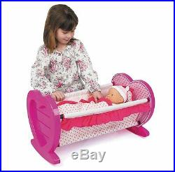 Doll Pink Dolls Rocking Cradle Crib Cot Bed Toy Girls Toy With Blanket & Pillow