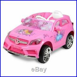 Electric Car For Kids Girls Ride Car Mercedes 6V Remote 3 Speed LED Light Pink