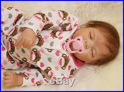 Full Silicone Reborn Soft Vinyl 22 Baby Doll Lifelike Dolls for Girl Boy Kids