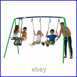 Garden Double Swing and Seesaw Glider Set Childrens Outdoor Toy Boys Girls