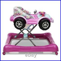 Girl Baby Walker Activity Center Car Light Sounds Wheels Girls Toddler Walk Toy