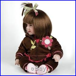Girl Dolls For Toddler Cute Realistic Soft Vinyl Baby Toy Brown Hair Clothes 20
