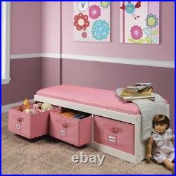 Girls Pink White Wooden Storage Bench Toy Box Home Organizer 3 Bins Cushion Seat