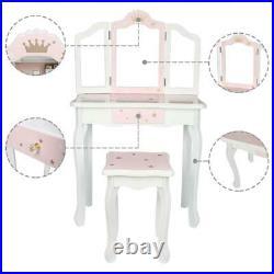 Girls Vanity Makeup Kids Dressing Table Set withStool Drawer & Mirror Jewelry Wood