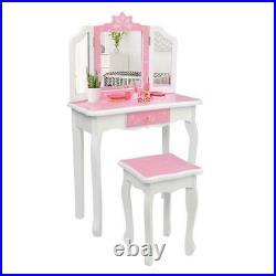 Girls Vanity Makeup Kids Dressing Table Set withStool Drawer & Mirror Snowflake