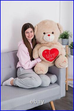 I Love You U Giant Large Big Teddy Bear Mum Boy Girl Firend Bear & Free Gift