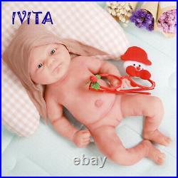 IVITA 14'' Soft Silicone Reborn Doll Newborn Baby Girl Toy Birthday Gift 1800g