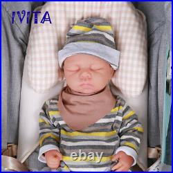 IVITA 18'' Handmade Eyes Closed Silicone Reborn Doll Baby Girl Toy Gift 3200g