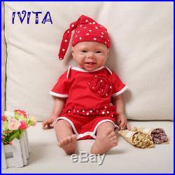IVITA 19'' Full Silicone Reborn Doll Newborn Baby Girl Toy Birthday Gift 3400g