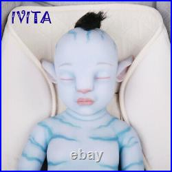 IVITA 20'' Full Silicone Avatar Reborn Doll Rooted Hair Baby Girl Gift Toy 2900g