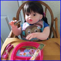 Kawaii 28 Reborn Toddler Silicone Girl Blonde Hair Children Wear Model Doll Toy