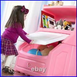 Kids Chest Toy Box Bookcase Girls Storage Bin Organizer Toys Bookshelf 38H Pink