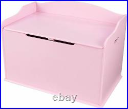 Kids Pink Finish Wooden Toy Box Chest Storage Bench Trunk Play Room Organizer