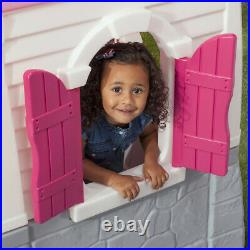 Kids Playhouse Outdoor Plastic Child Toddler Cottage Play House Toy Girls Pink
