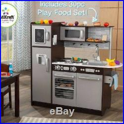 Kids Pretend Play Wooden Kitchen Set 30 Pc Cooking Food Playset For