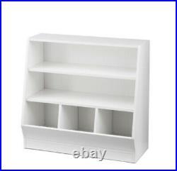 Kids Toy Box Bookcase With Storage Bin Organizer Toys Bookshelf, Spacious, White