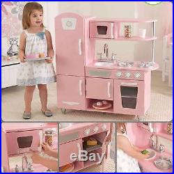 Kids Wooden Pretend Play Kitchen PlaySet Life Like Pink Toy ...