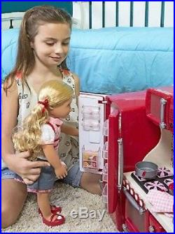 Kitchen For 18 Doll Accessories Food Dishes Fridge Oven Sink Girls Play Set Toy