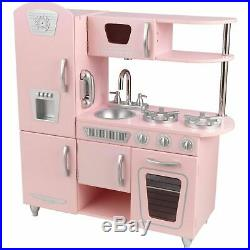 Kitchen Play Set For Girls Pretend Play Wooden Cooking Toy Set Toddler Kids Pink