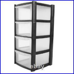 Large Plastic 4 Drawer Storage Drawer Tower for Schools, Offices Home Room Toy