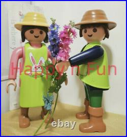 Lot 2 Playmobil XXL Jardinier Boy + Jardinière Gardener girl neuf new nuevo