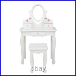 Makeup Vanity Table Set With 3 Drawers Oval Mirror Girls Kids Dressing Table White