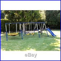 Metal Swing Set Playground Slide Heavy Duty Backyard Girl Boy Spinner Mat Kids