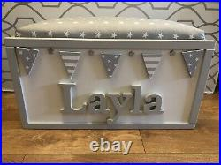 Personalised toy box With Hinged Padded Lid And Safety Piston