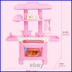Pretend Play Kitchen Set for Kids Mini Role Play Food Cooking Playset Girls Toys