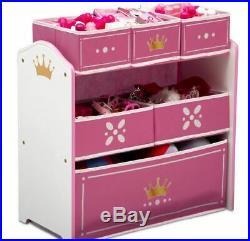 Princess Crown Multi Bin Toy Storage Pink Children Kids Organizer Space Saver