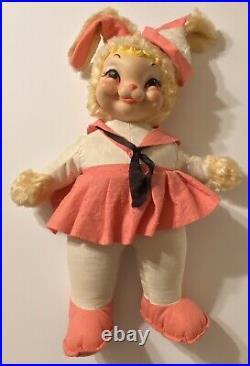 RARE Vintage Rushton BUNNY GIRL Sailor Easter Doll 20 All Orig Tagged 1950-60s