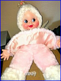 RUSHTON COMPANY Pink SNOW BABY Girl Doll RUBBER FACE Plush Stuffed Toy VINTAGE