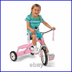 Radio Flyer 33PZ Kids Classic Style Dual Deck Tricycle with Handlebar Bell, Pink
