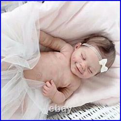 Reborn Girls Full Silicone Soft Body Cute Smiley Girl Doll Realistic Baby Toy