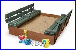 Sandbox for Kids Outdoor Sand Box Child Boy Girl Backyard Bench Seats Cedar