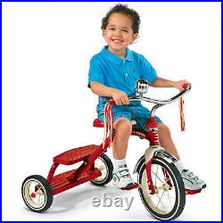 Tricycle Kids Ride On Classic Red Dual Deck 12 Front Wheel Trike Girl Boy Child