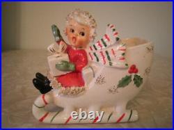 Vintage Napco Christmas Sleigh Girl With Gingerbread Nice Shape Red Dress & Toys