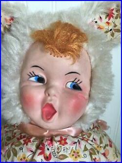 Vintage Rubber Face Girl Doll Bunny Rabbit Gund Rushton Cloth Body 27